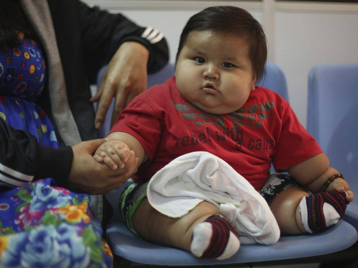 Tipping the scales at over 3st 8-month-old Santiago Mendoza weighs the same as an average six-year-old child, and weighs over three times more than he should, doctors have said.