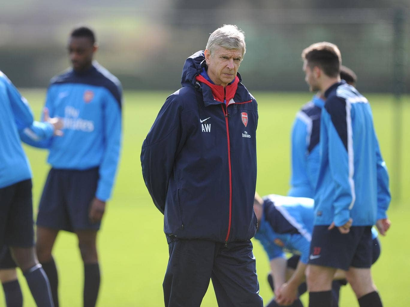 Arsene Wenger takes charge of Arsenal training on the eve of his 1,000th match in charge of the Gunners