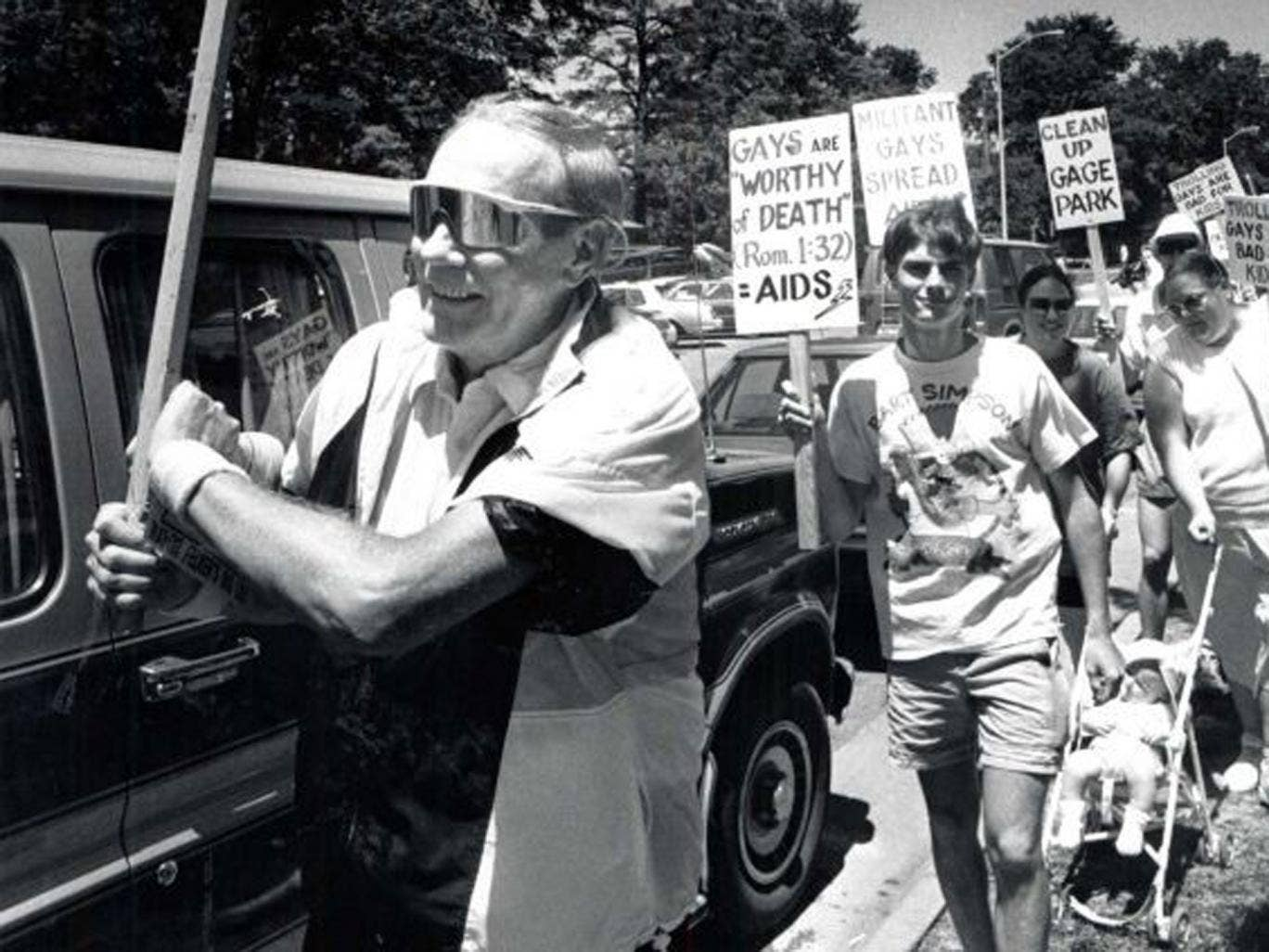 Phelps and members of his Westboro church stage a protest in Topeka, Kansas in 1991