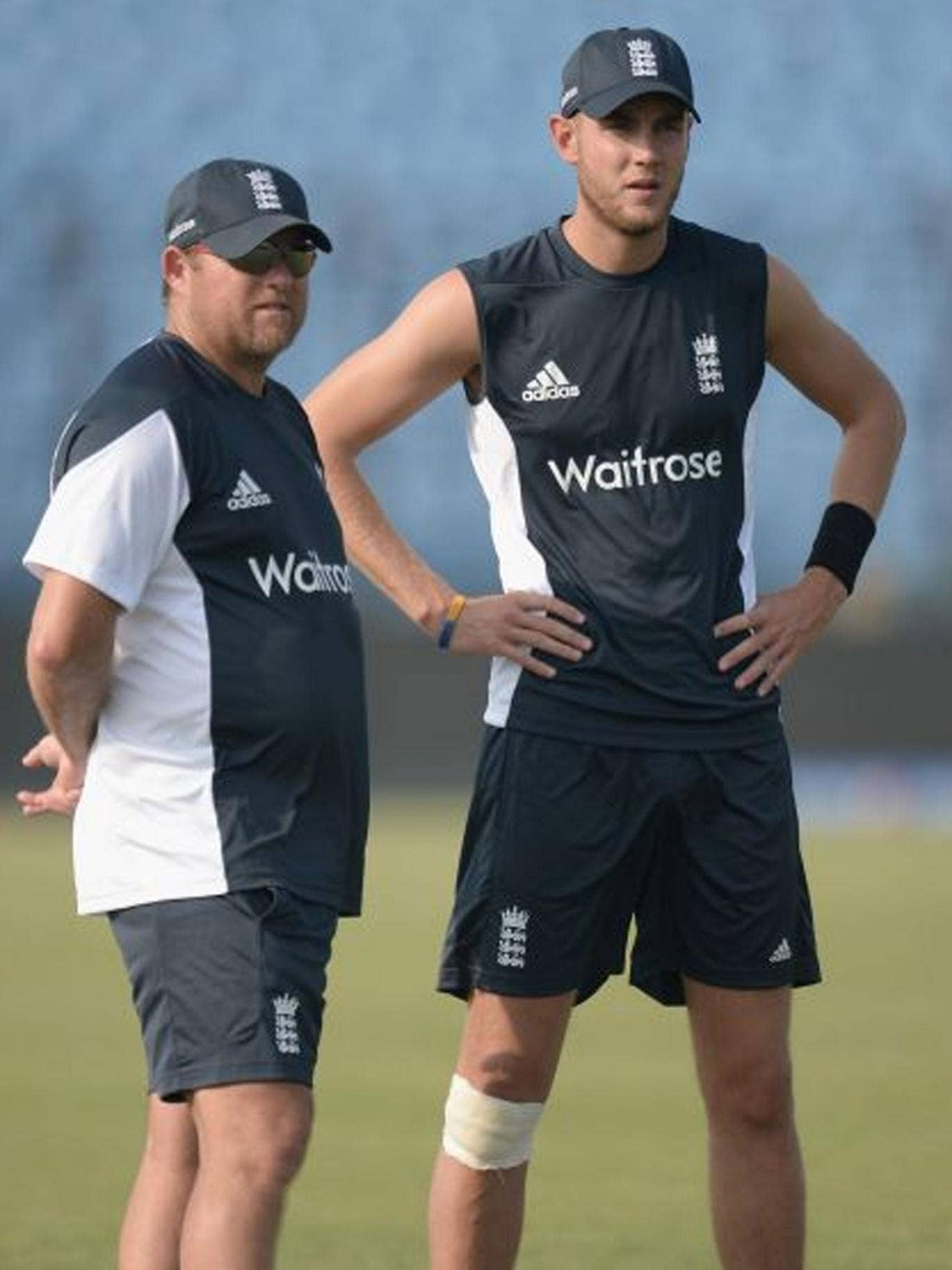 Stuart Broad (right) talks to England bowling coach David Saker during a nets session in Chittagong