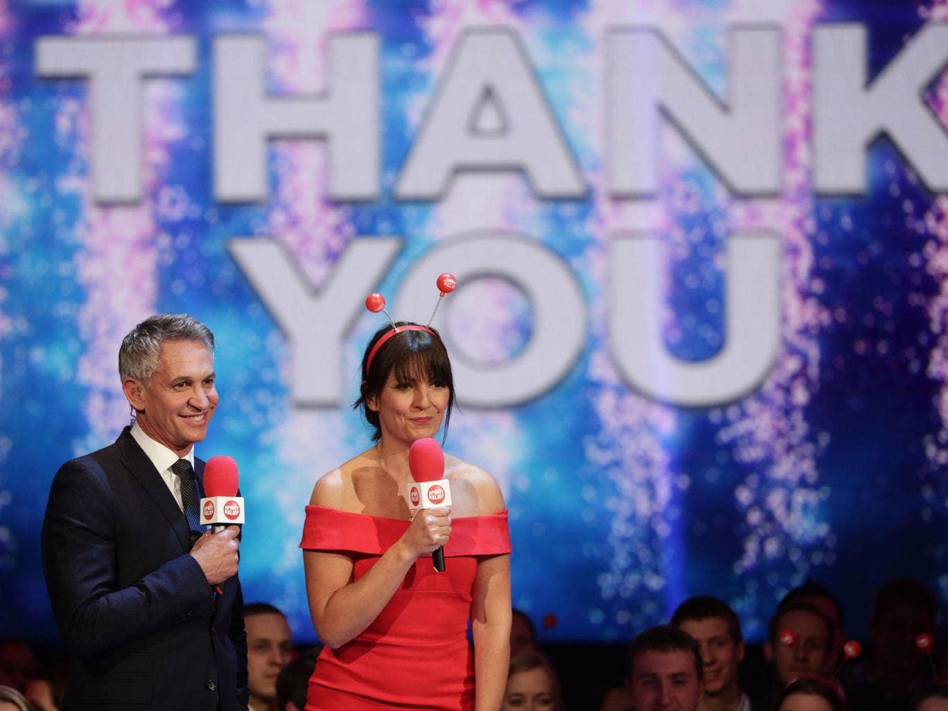 Gary Linker and Davina McCall thank the public for the funds raised
