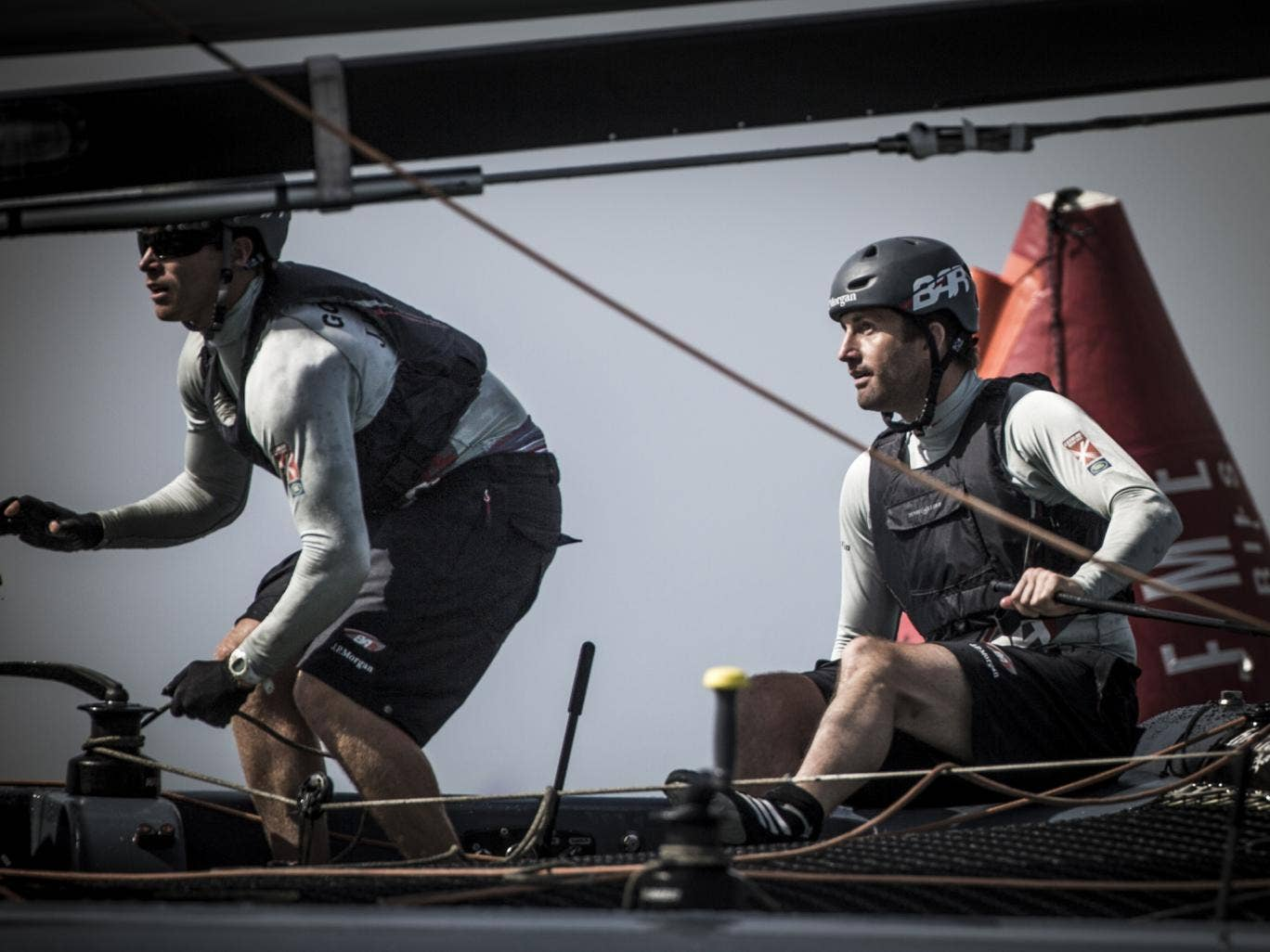 Tension on board as Ben Ainslie (right) and Paul Goodison suffer a disappointing final day of the Extreme Sailing Series in Muscat, Oman, on the 40-foot catamaran J.P.Morgan/BAR