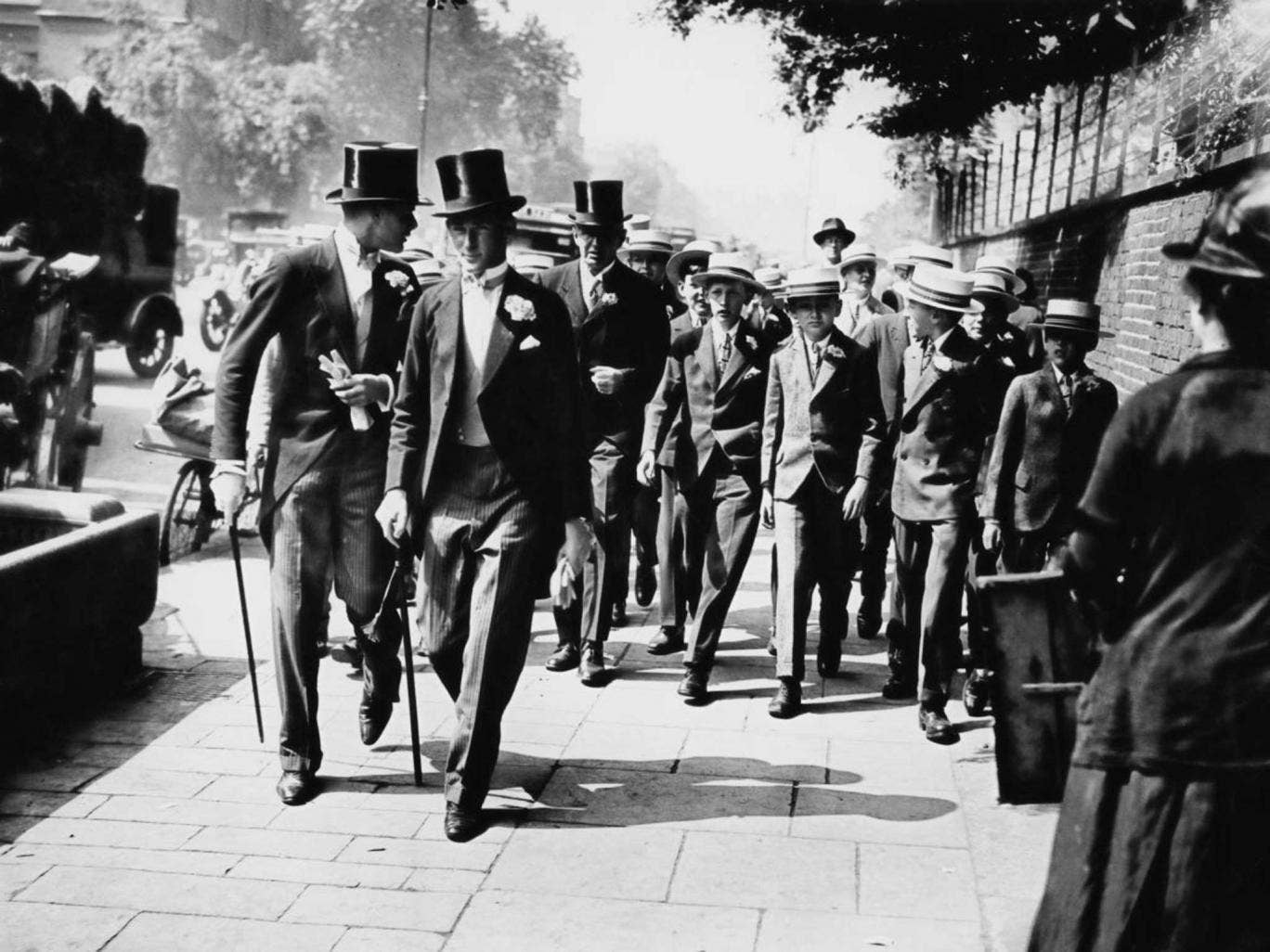 Eton schoolboys arriving at Lord's Cricket Ground in 1928