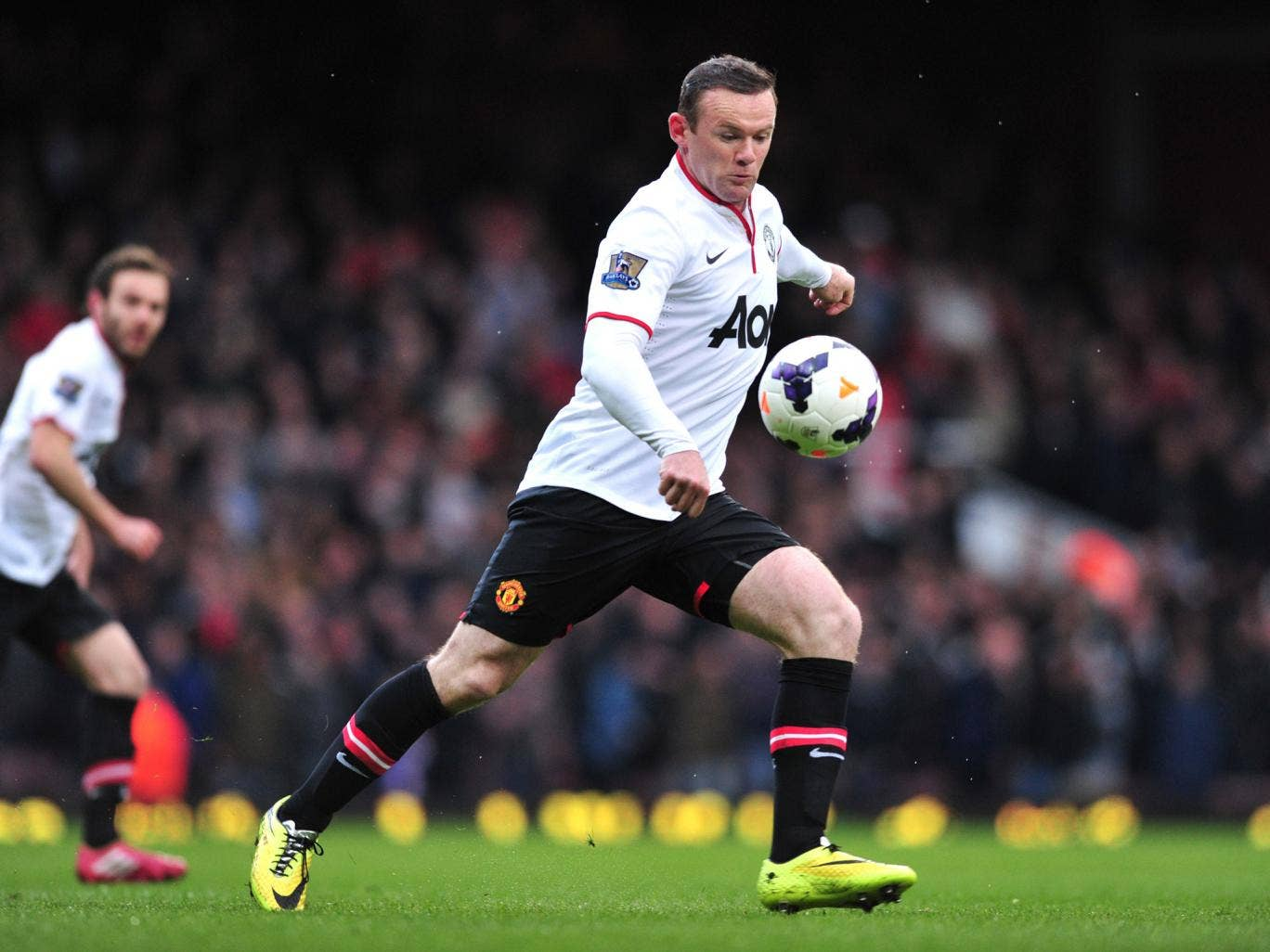Wayne Rooney scores from 58 yards to put Manchester United 1-0 up against West Ham