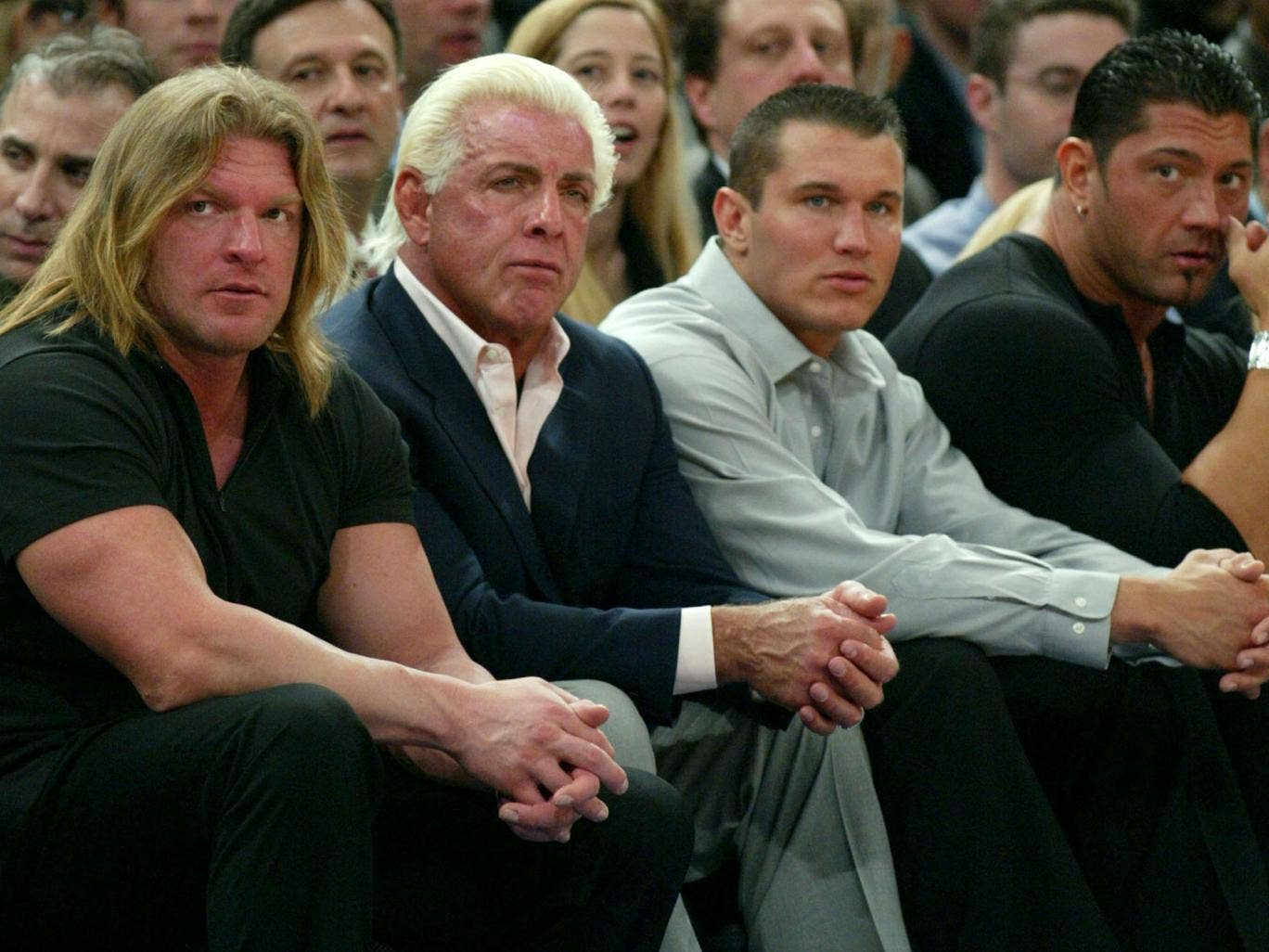 Evolution - Triple H, Ric Flair, Randy Orton and Batista pictured in 2004
