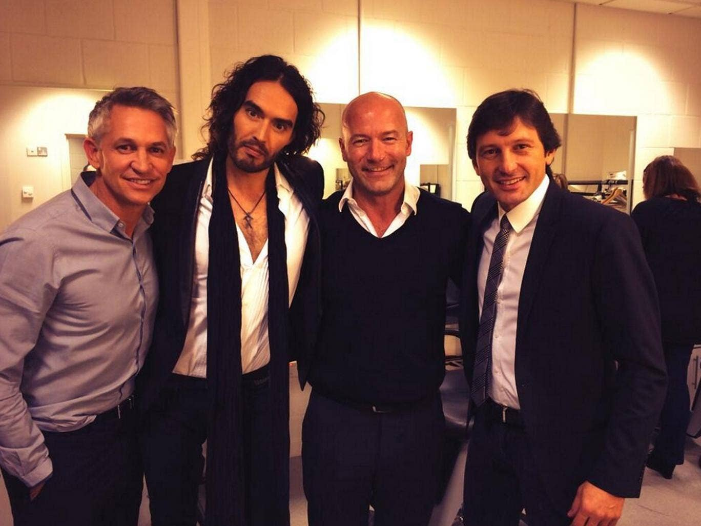Russell Brand with MOTD regulars Gary Lineker and Alan Shearer, and Brazilian footballer Leonardo