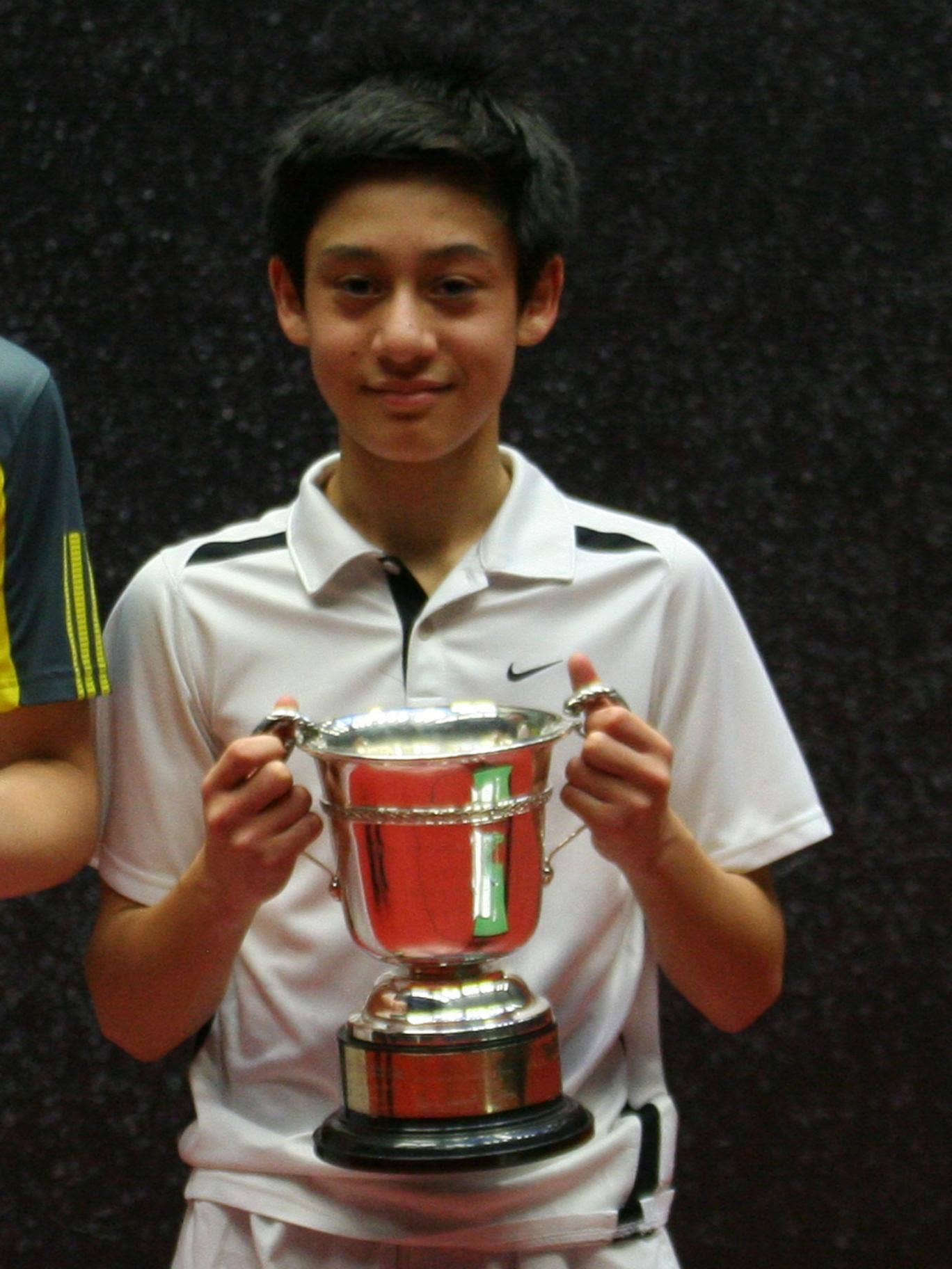 Ben Cawston, 14, holds his national Public Schools trophy