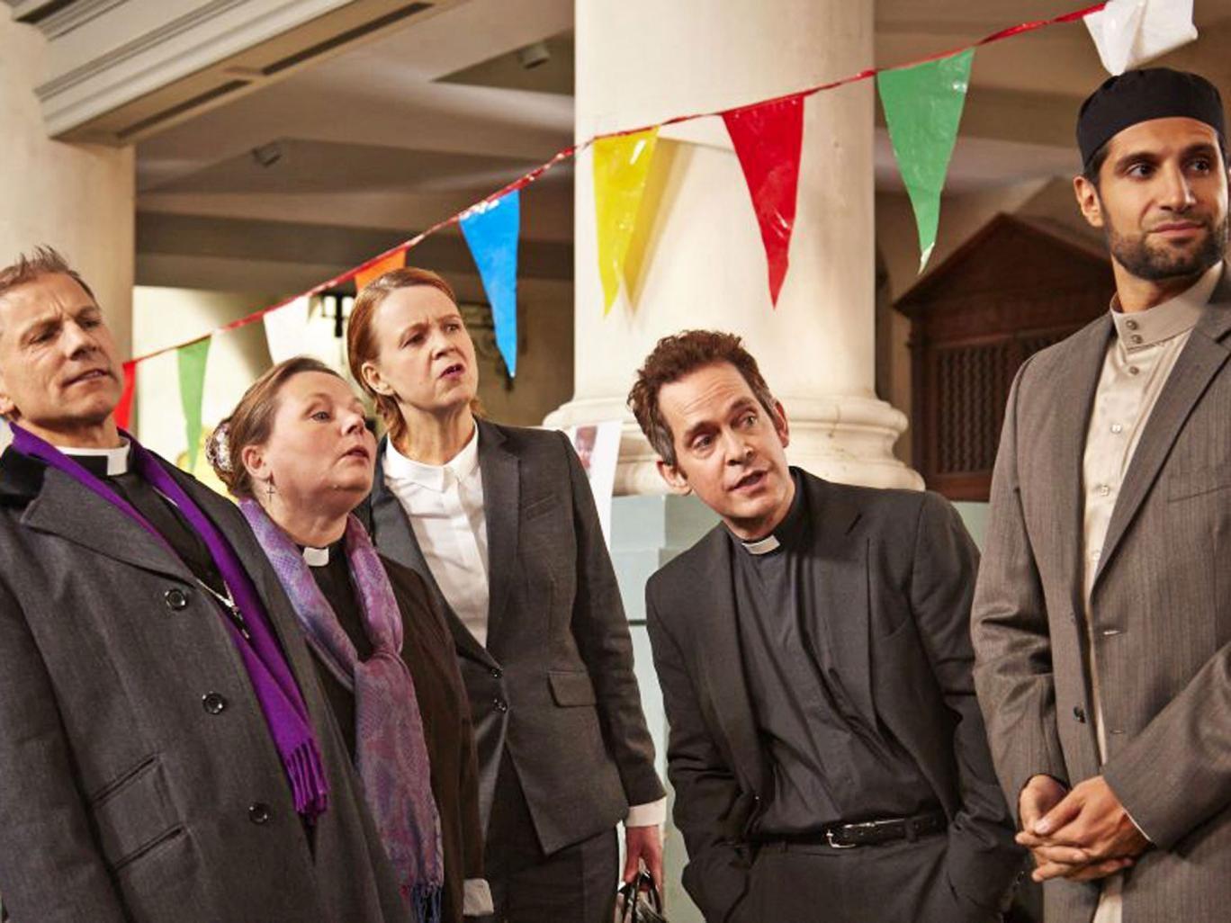 True collars: Simon McBurney, Joanna Scanlan, Vicki Pepperdine, Tom Hollander and Kayvan Novak in 'Rev'