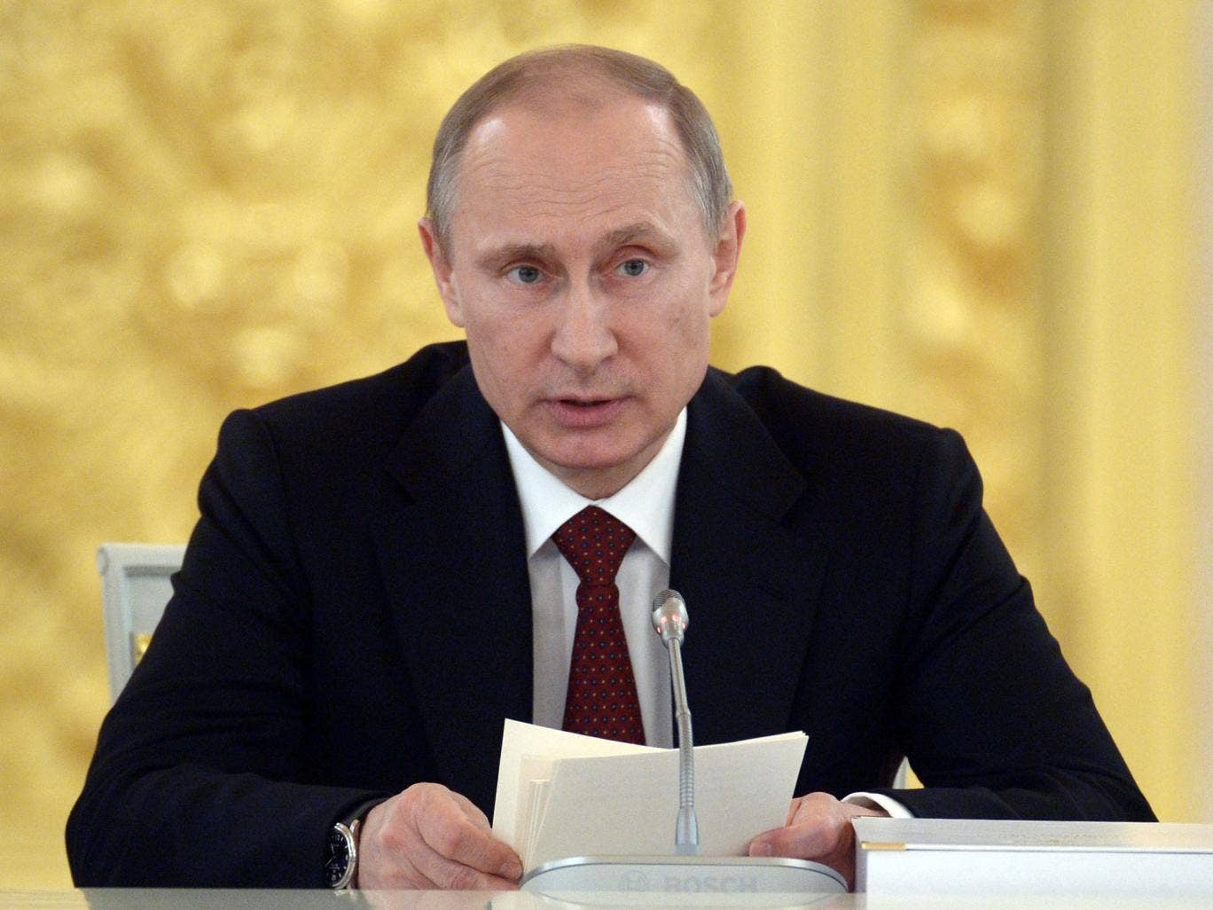 Russian President Vladimir Putin speaks at a government meeting at the Kremlin in Moscow on 24 March, 2014