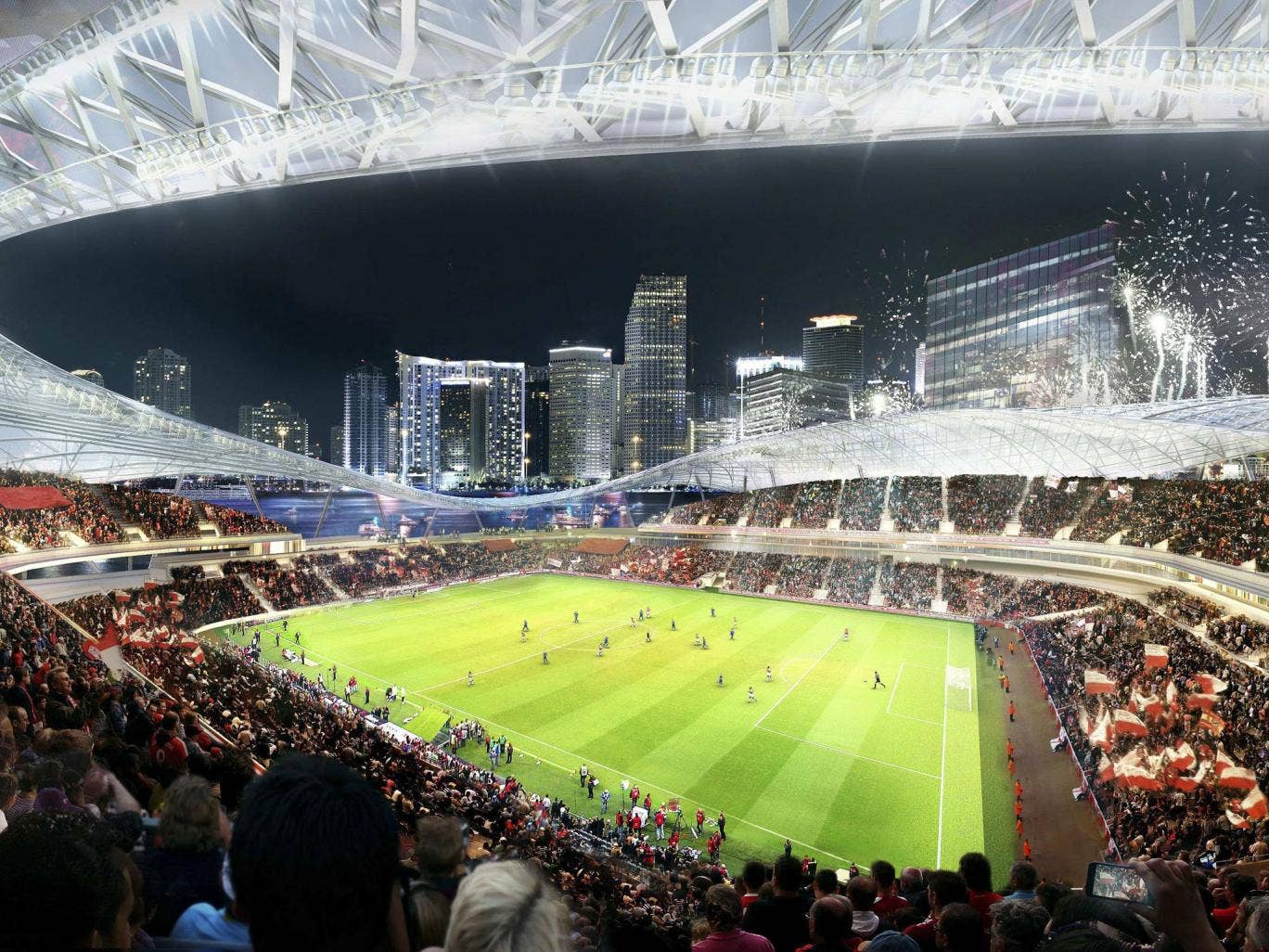 A proposed stadium for a Major League Soccer (MLS) team backed by retired English soccer star David Beckham of the group's preferred location for the arena seated in between Biscayne Bay and downtown Miami, Florida