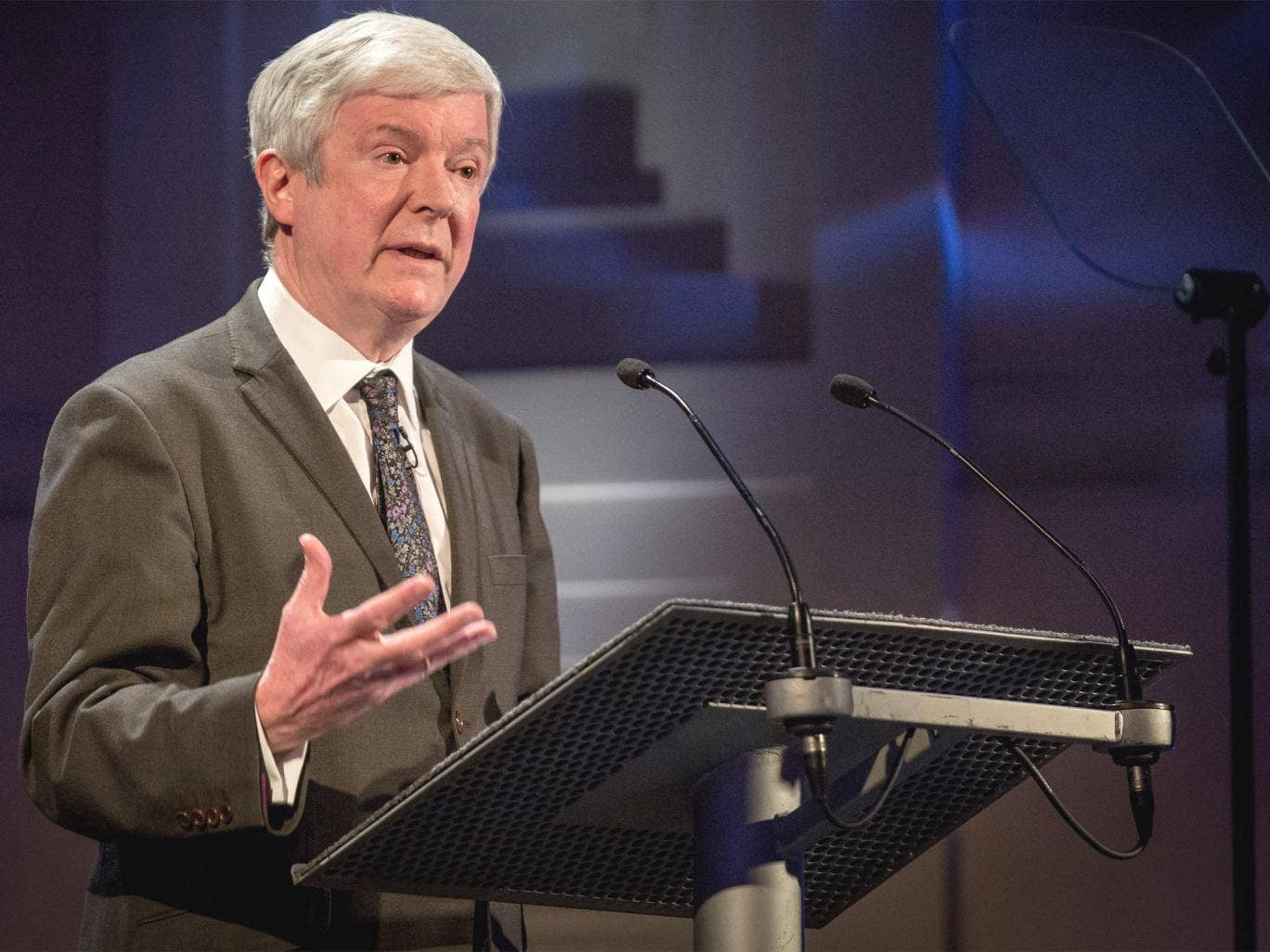 Director General Tony Hall delivers a speech at the Radio Theatre in the BBC's New Broadcasting House headquarters