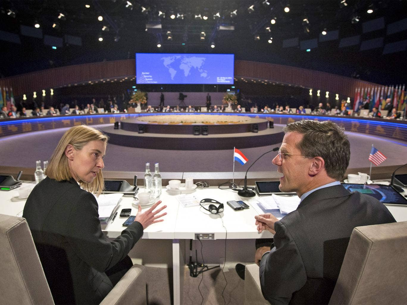 Federica Mogherini, Italian minister of Foreign Affairs talks with Mark Rutte, Prime Minister of the Netherlands at the 2014 Nuclear Security Summit