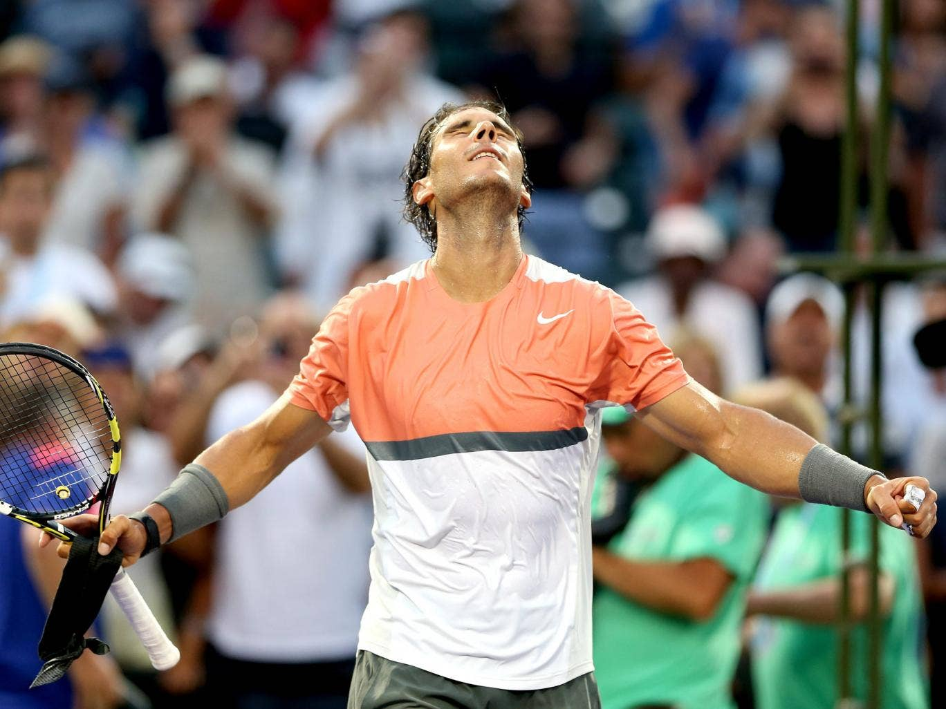 Rafael Nadal of Spain celebrates celebrates his win over Denis Istomin of Uzebekistan during the Sony Open at the Crandon Park Tennis Center