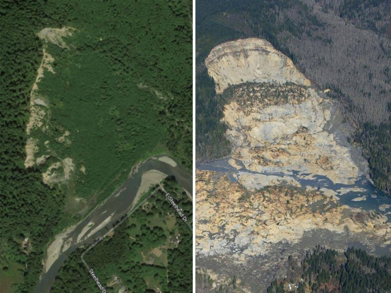 Incredible before and after pictures showing the devastation of the landslide in Washington state