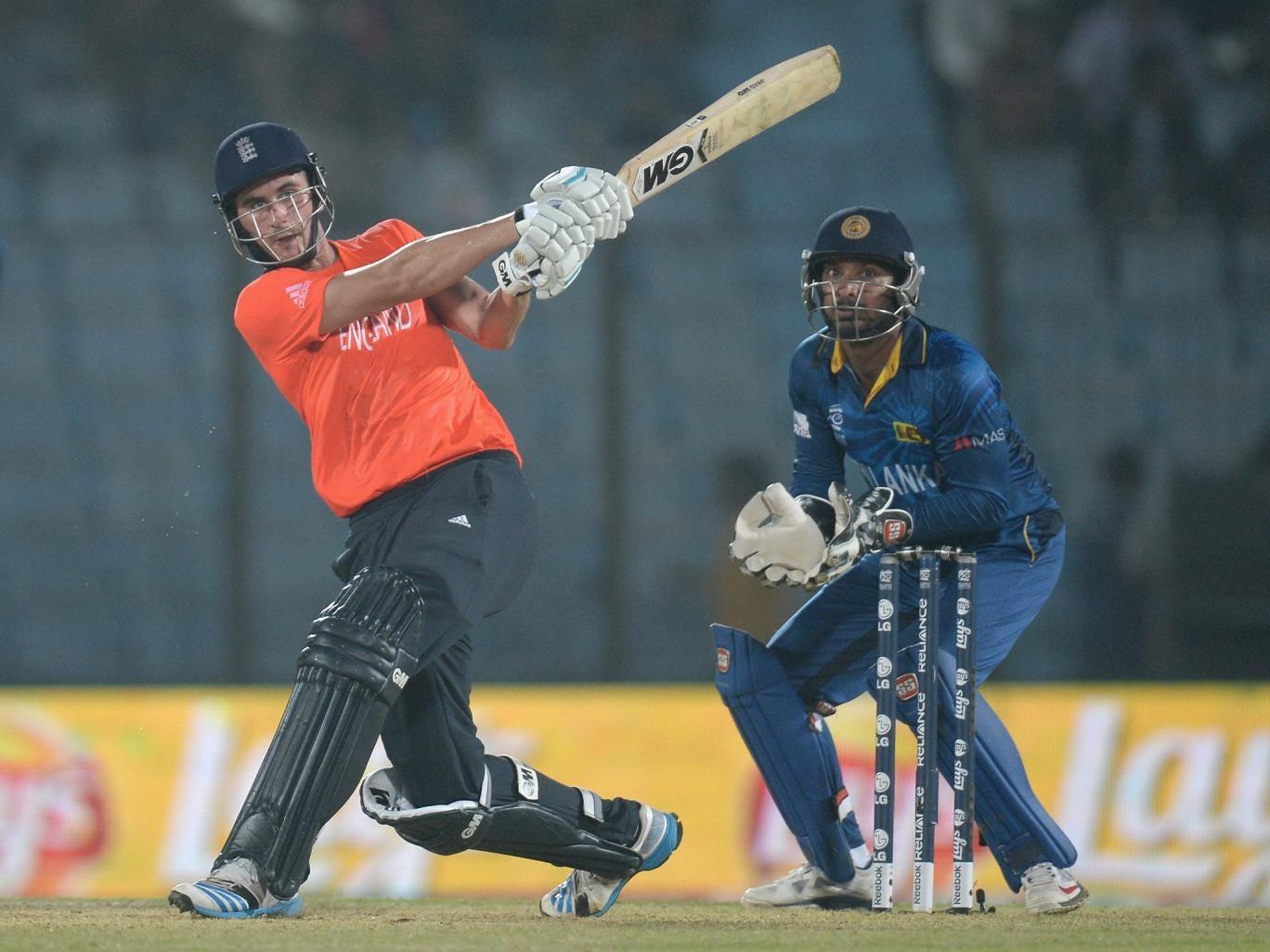 Alex Hales of England hits out for six runs during the ICC World Twenty20 Bangladesh 2014 Group 1 match between England and Sri Lanka at Zahur Ahmed Chowdhury Stadium
