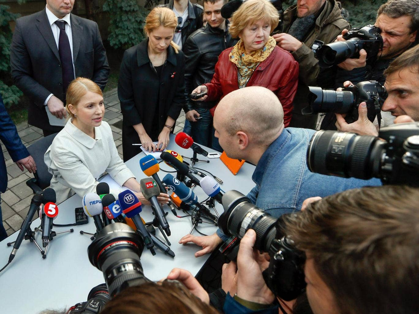 Yulia Tymoshenko (seated) at a press conference in Kiev yesterday, when she confirmed that she will run for president in Ukraine's elections on 25 May
