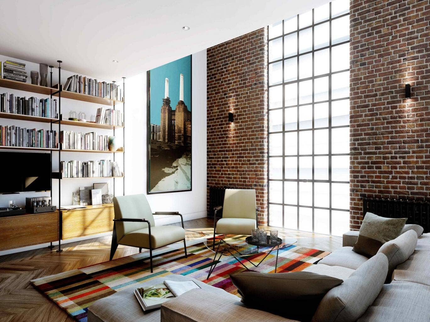An artist's impression of an apartment living room at the Battersea Power Station