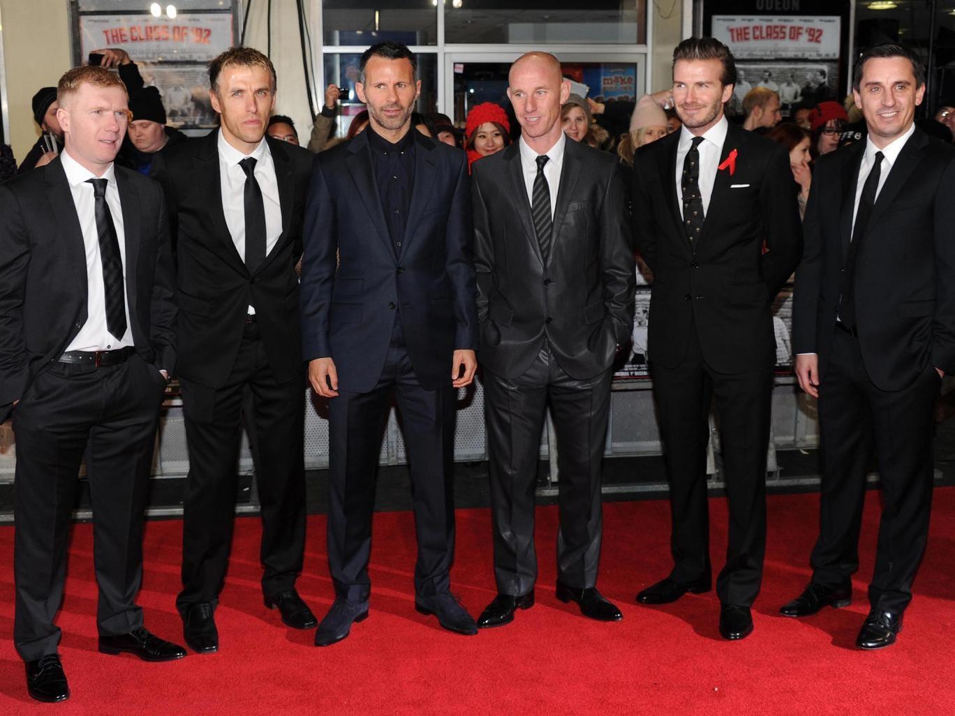 (L-R) Paul Scholes, Phil Neville, Ryan Giggs, Nicky Butt, David Beckham and Gary Neville