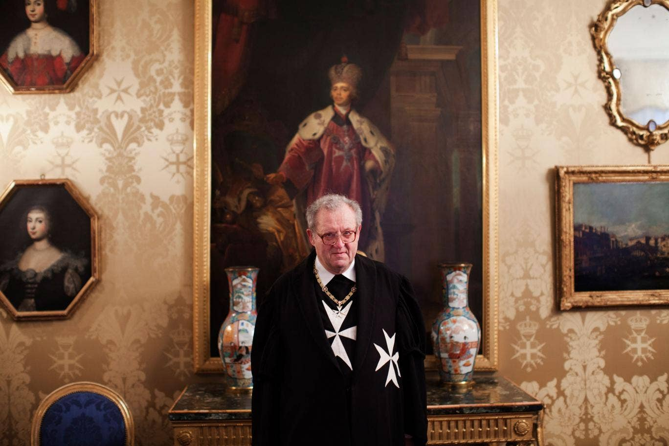 Grand Master Festing wearing the ceremonial black robes of the order