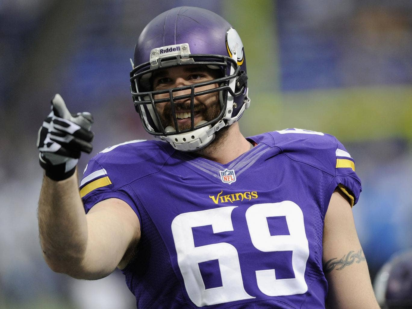 Jared Allen #69 of the Minnesota Vikings looks on before the game against the Detroit Lions on December 29, 2013