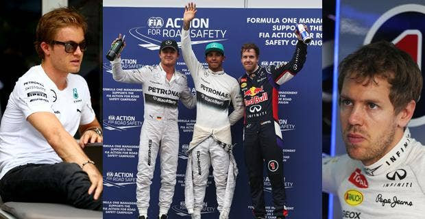 Nico Rosberg (right), winner of the Australian Grand Prix, qualified third with Sebastian Vettel (left) starting second and Lewis Hamilton (centre) starting the Malaysian Grand Prix on pole