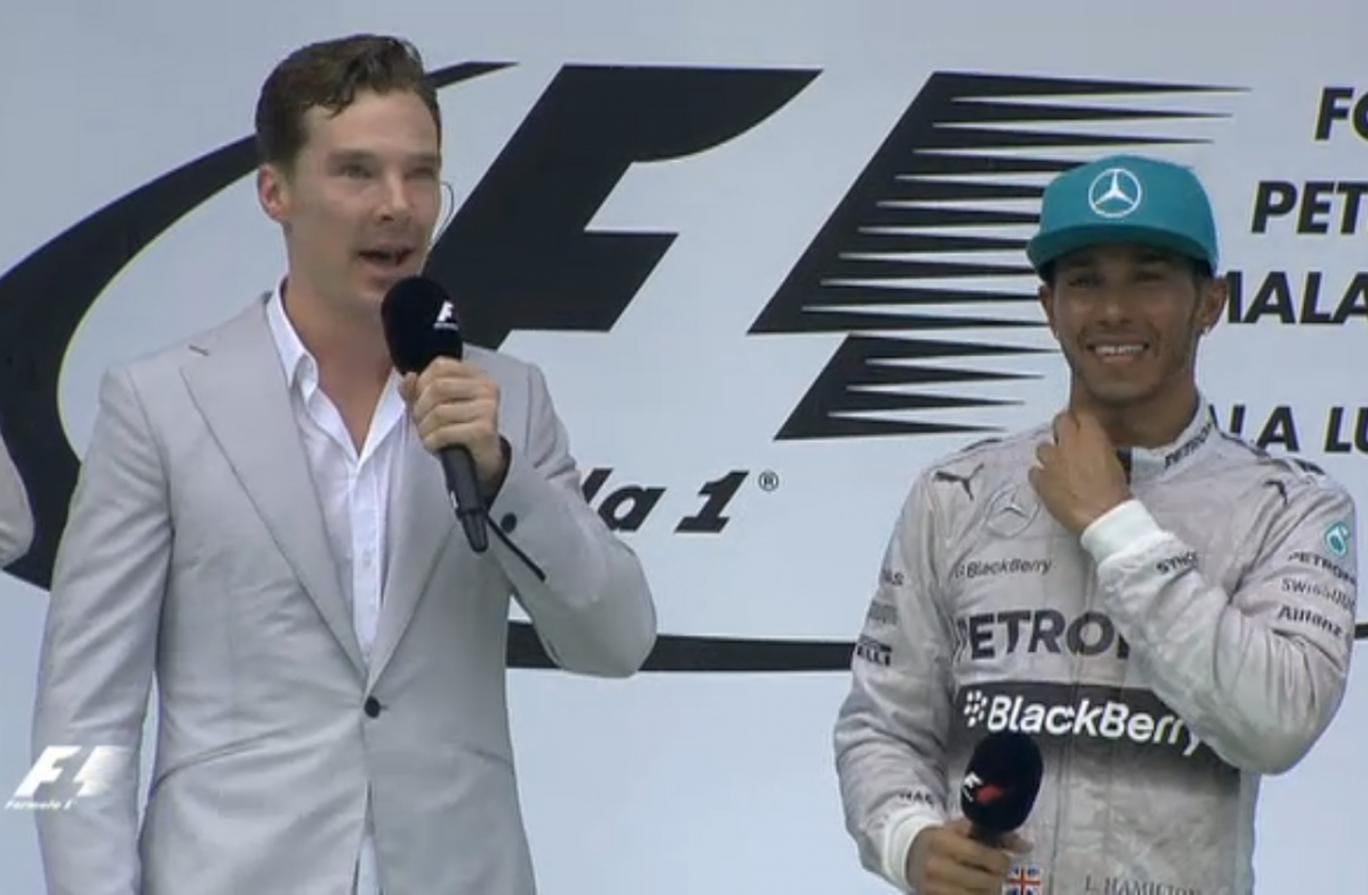 Sherlock star Benedict Cumberbatch interviews Lewis Hamilton on the podium following the Mercedes driver's Malaysian GP victory