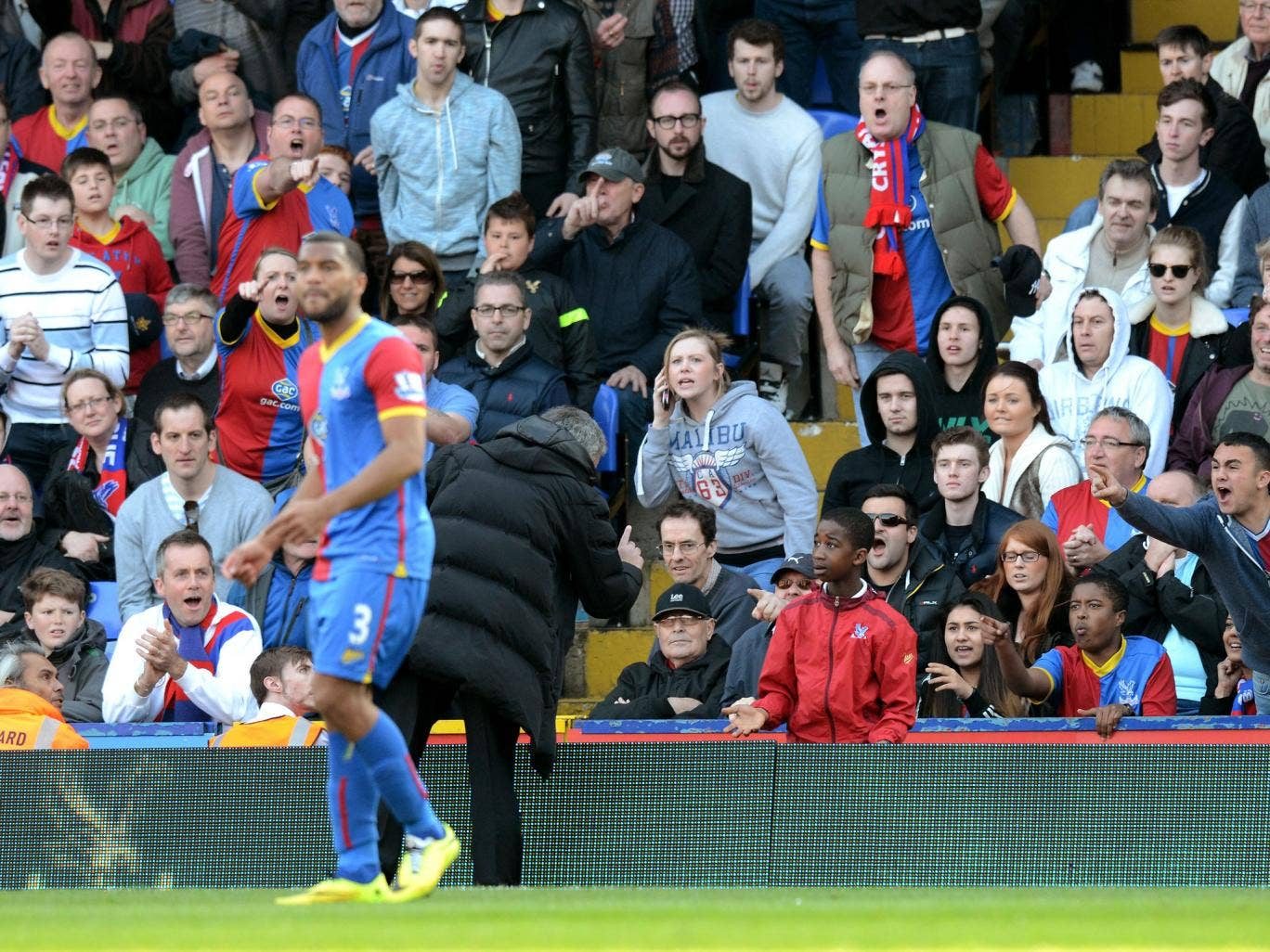 Jose Mourinho having words with a Crystal Palace ballboy, who he felt was time wasting late on during Saturday's game