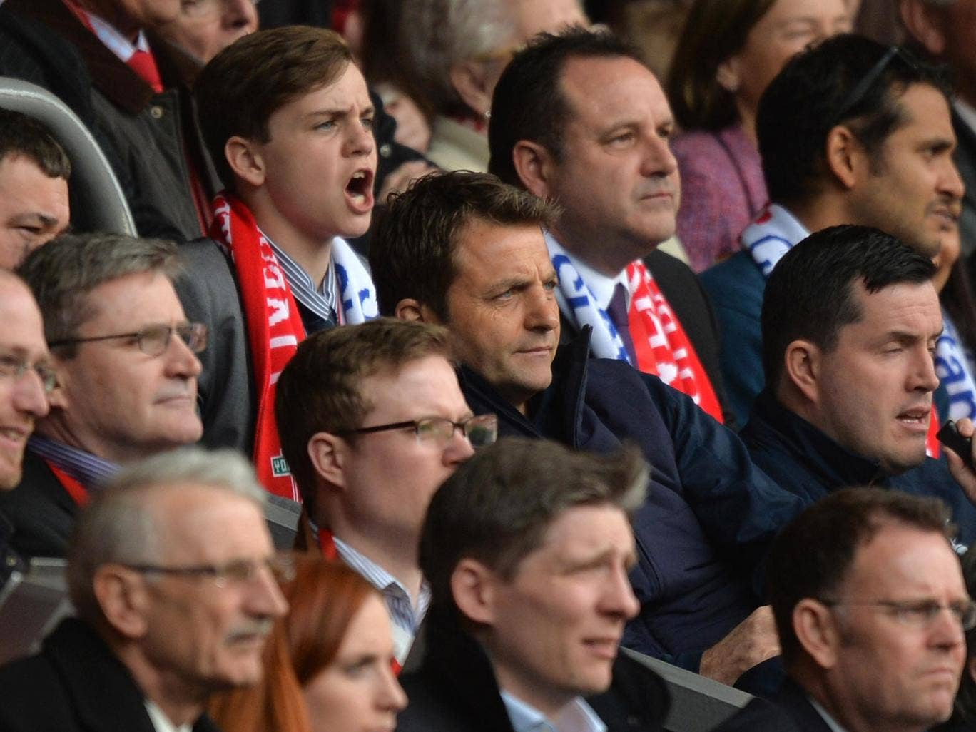 Tim Sherwood watches Tottenham's 4-0 defeat to Liverpool from the stands