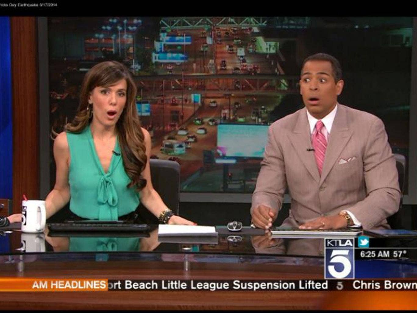 KTLA presenters broadcast while a 4.4 earthquake rumbles through Los Angeles on 17 March