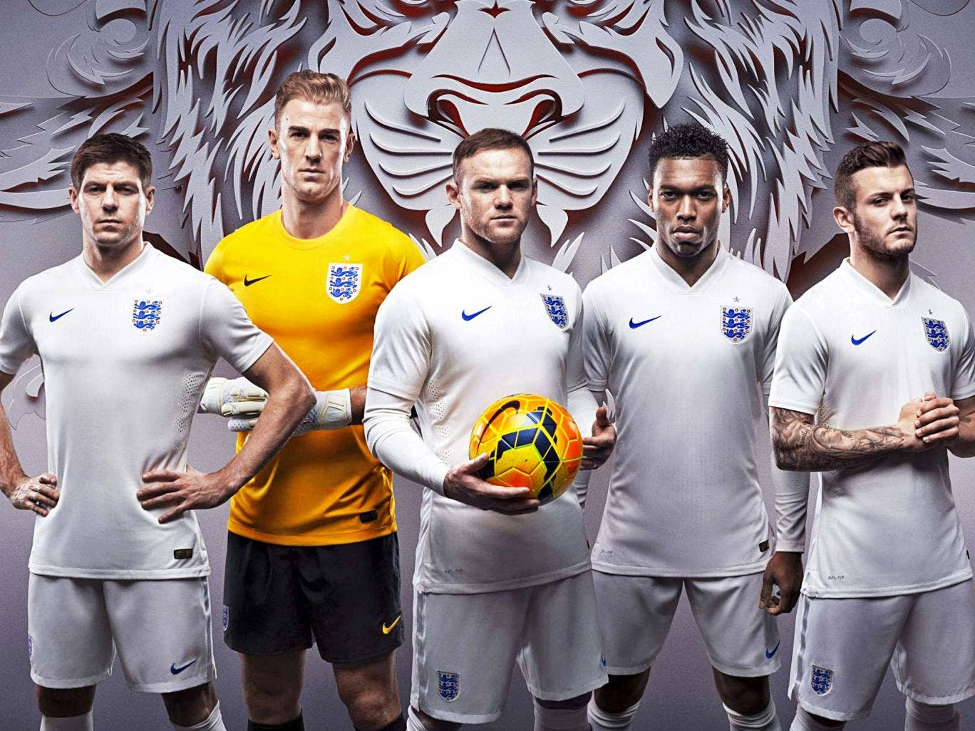 Five lions: England stars (from left) Steven Gerrard, Joe Hart, Wayne Rooney, Daniel Sturridge and Jack Wilshere show off the new Nike shirt for this summer's World Cup