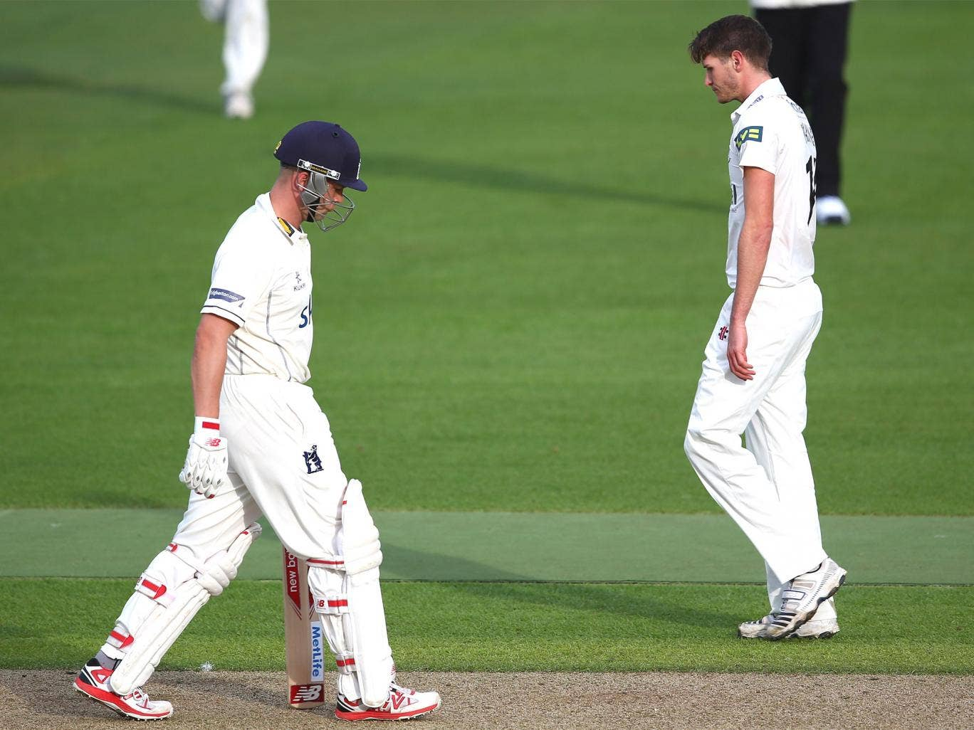 Jonathan Trott leaves the middle after being dismissed lbw for four