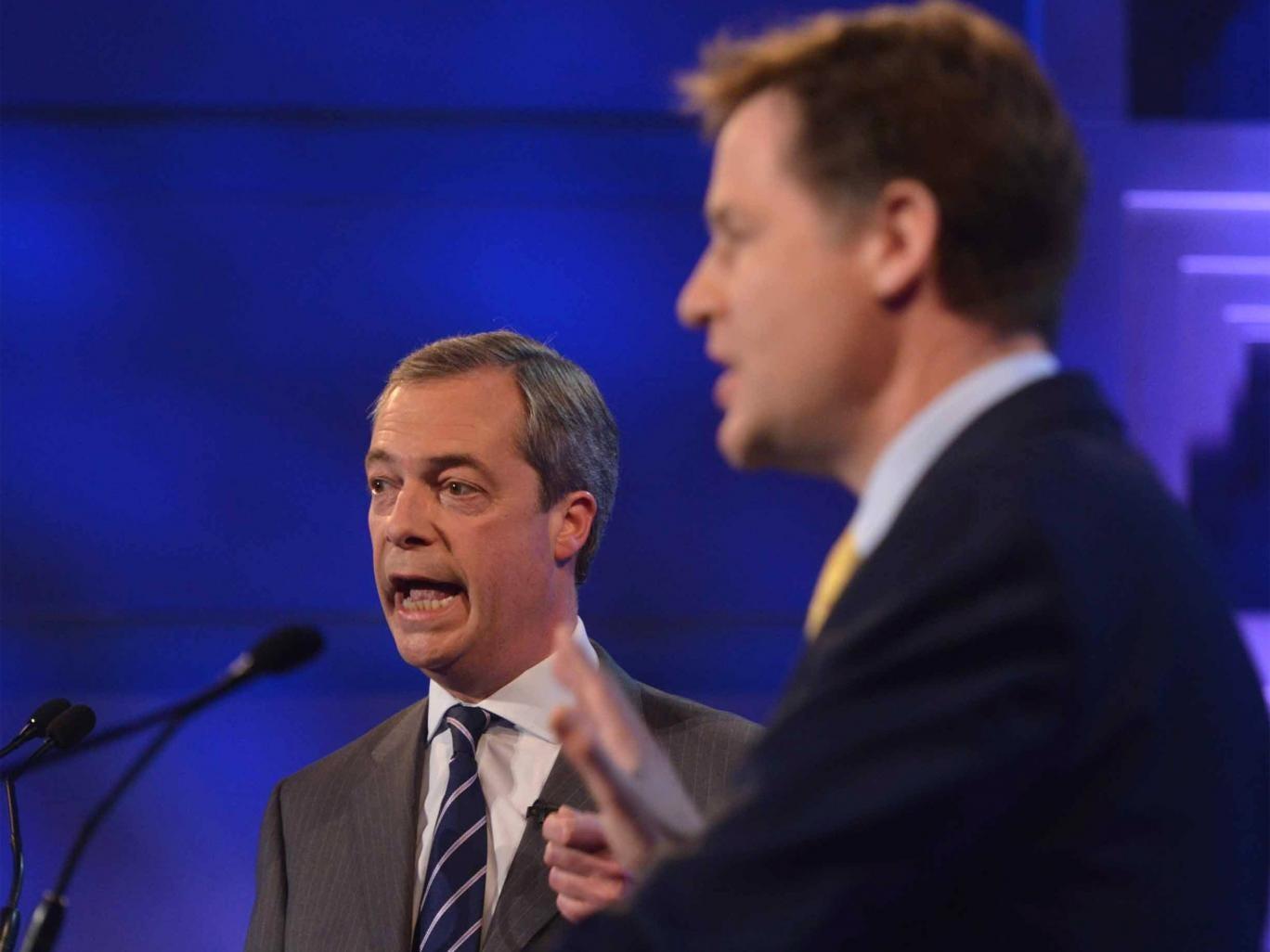 Deputy Prime Minister Nick Clegg and Ukip leader Nigel Farage during their second televised debate