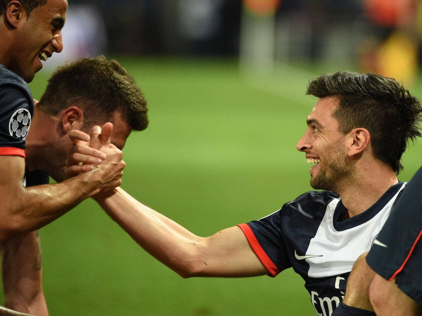 Javier Pastore (right) celebrates his 93rd minute strike for PSG