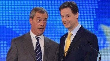 Nigel Farage and Nick Clegg after their EU debate