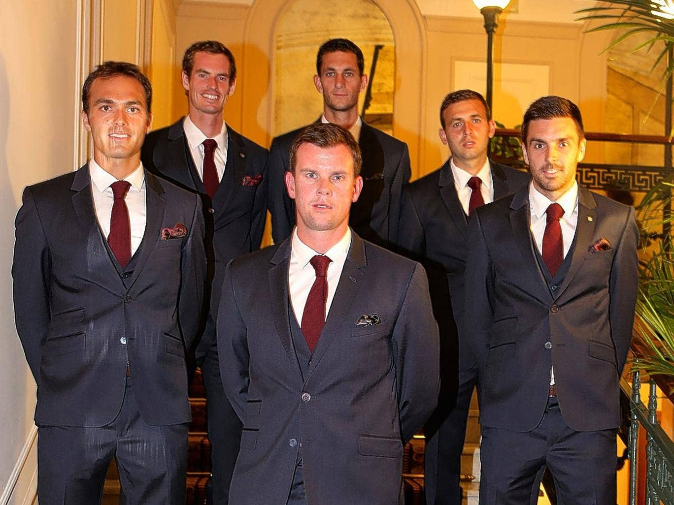 Great Britain's Davis Cup squad in Naples ahead of their tie with Italy, clockwise from front left: Ross Hutchins Andy Murray, James Ward, Dan Evans, Colin Fleming and team captain Leon Smith