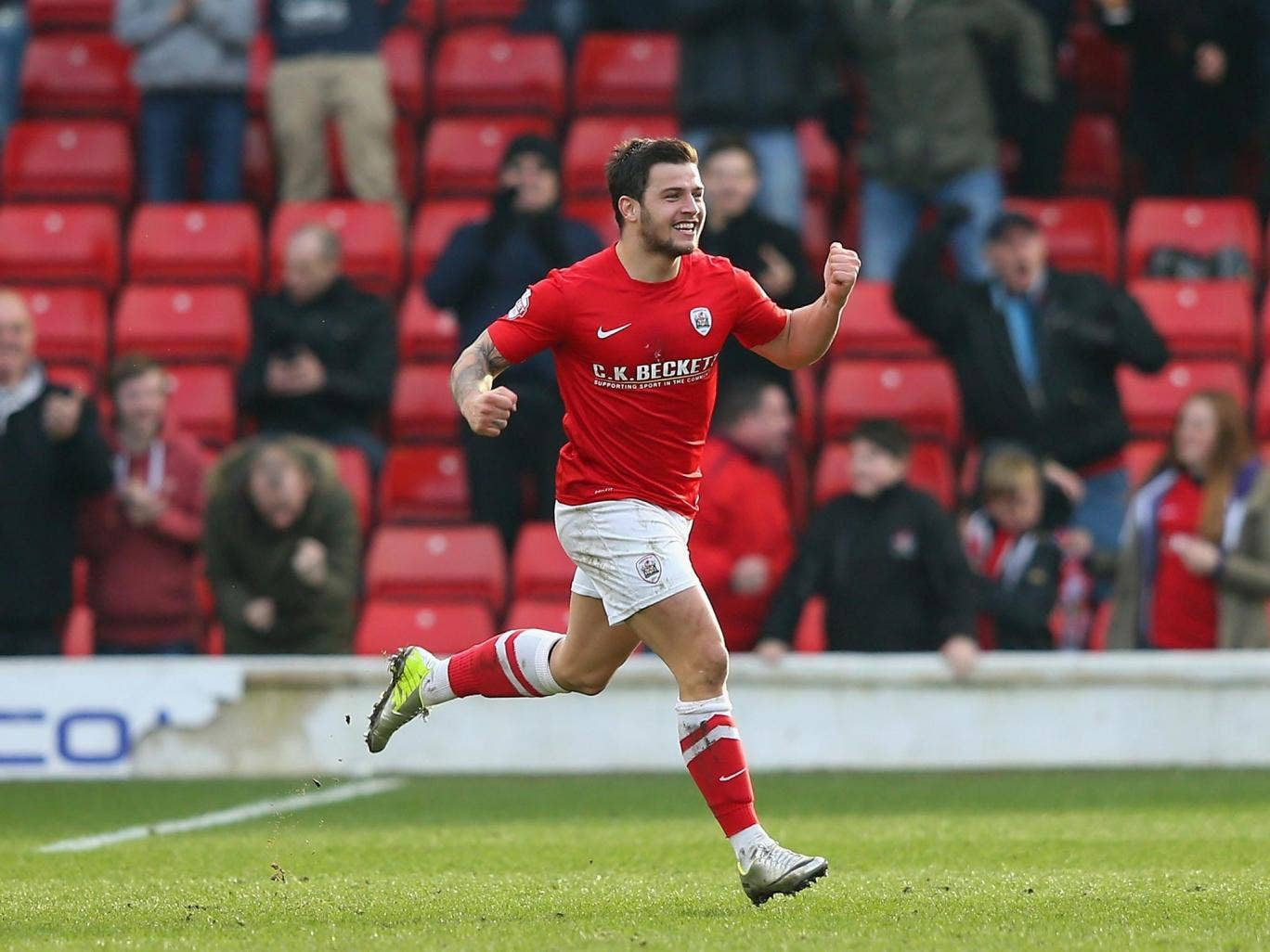 Dale Jennings scores his first goal for Barnsley, against Nottingham Forest early last month