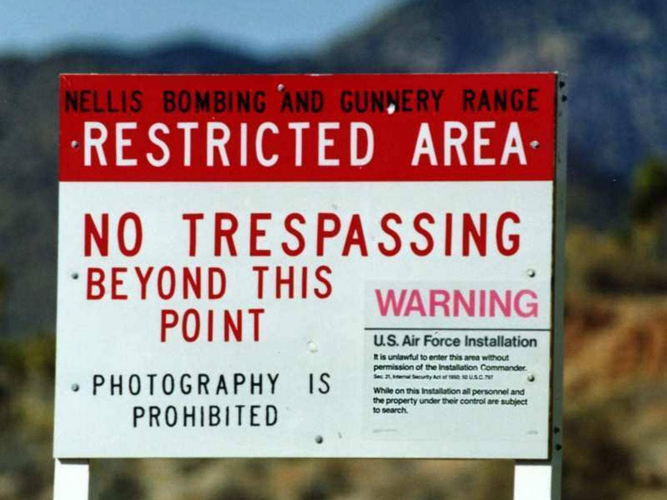 A warning sign at the edge of Area 51