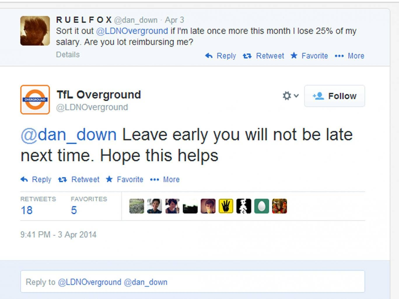 How it all began: TFL's response to a customer complaint