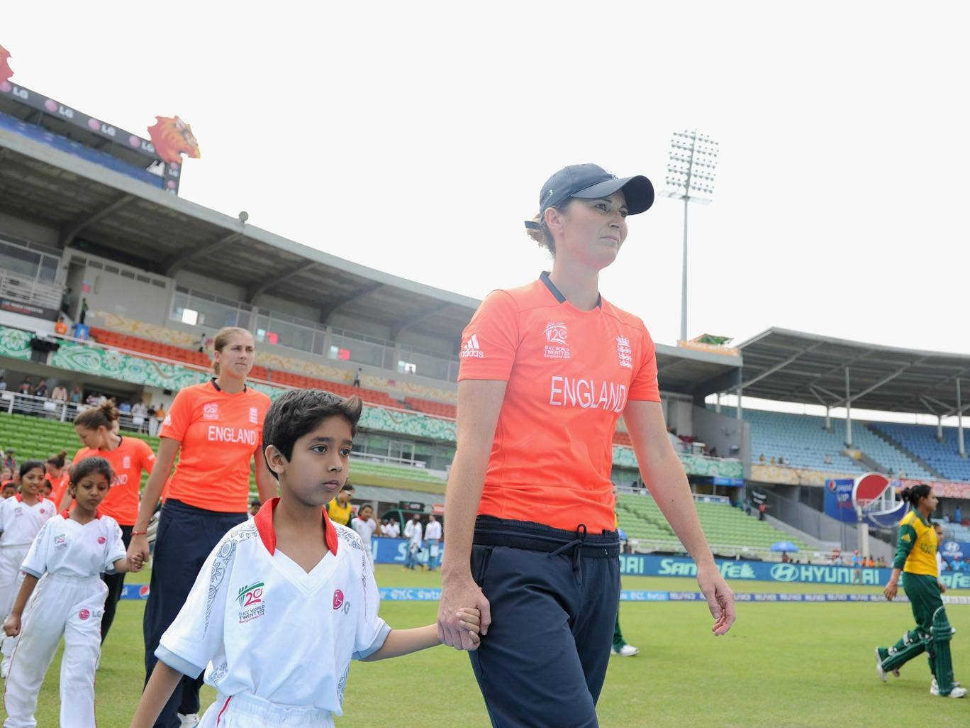Charlotte Edwards leads out the England team in the victory over South Africa in the Women's World Twenty20