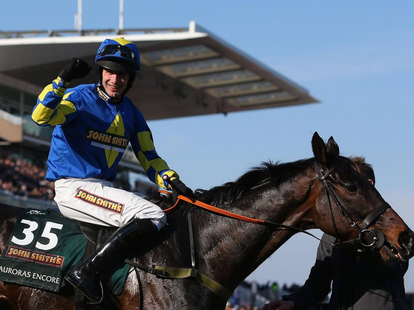 Auroras Encore ridden by Ryan Mania celebrates winning last year's Grand National