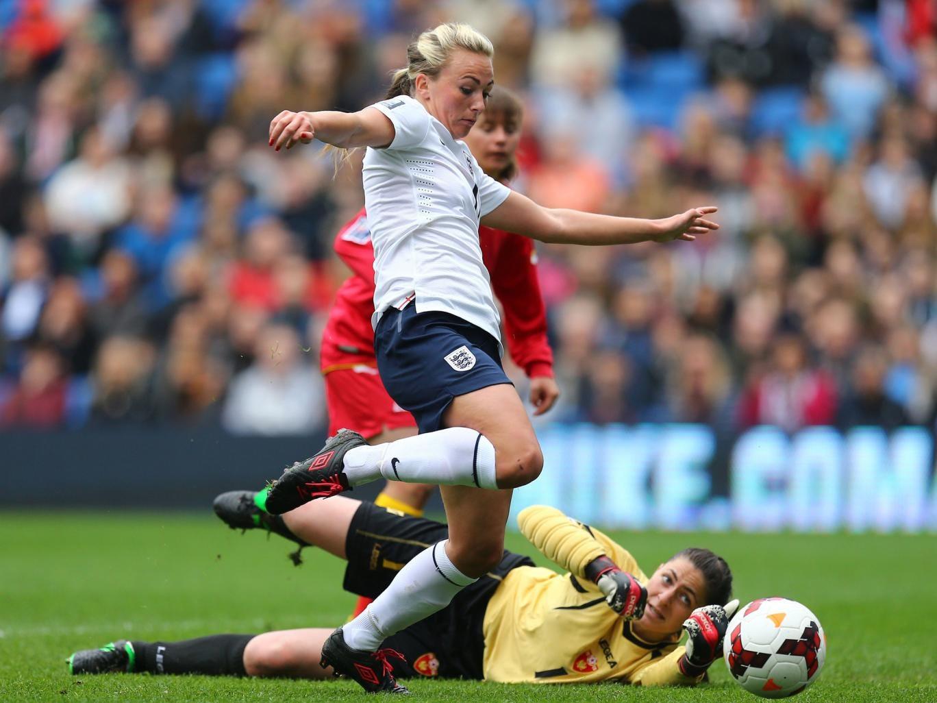 Toni Duggan scores for England Women in the 9-0 win over Montenegro Women