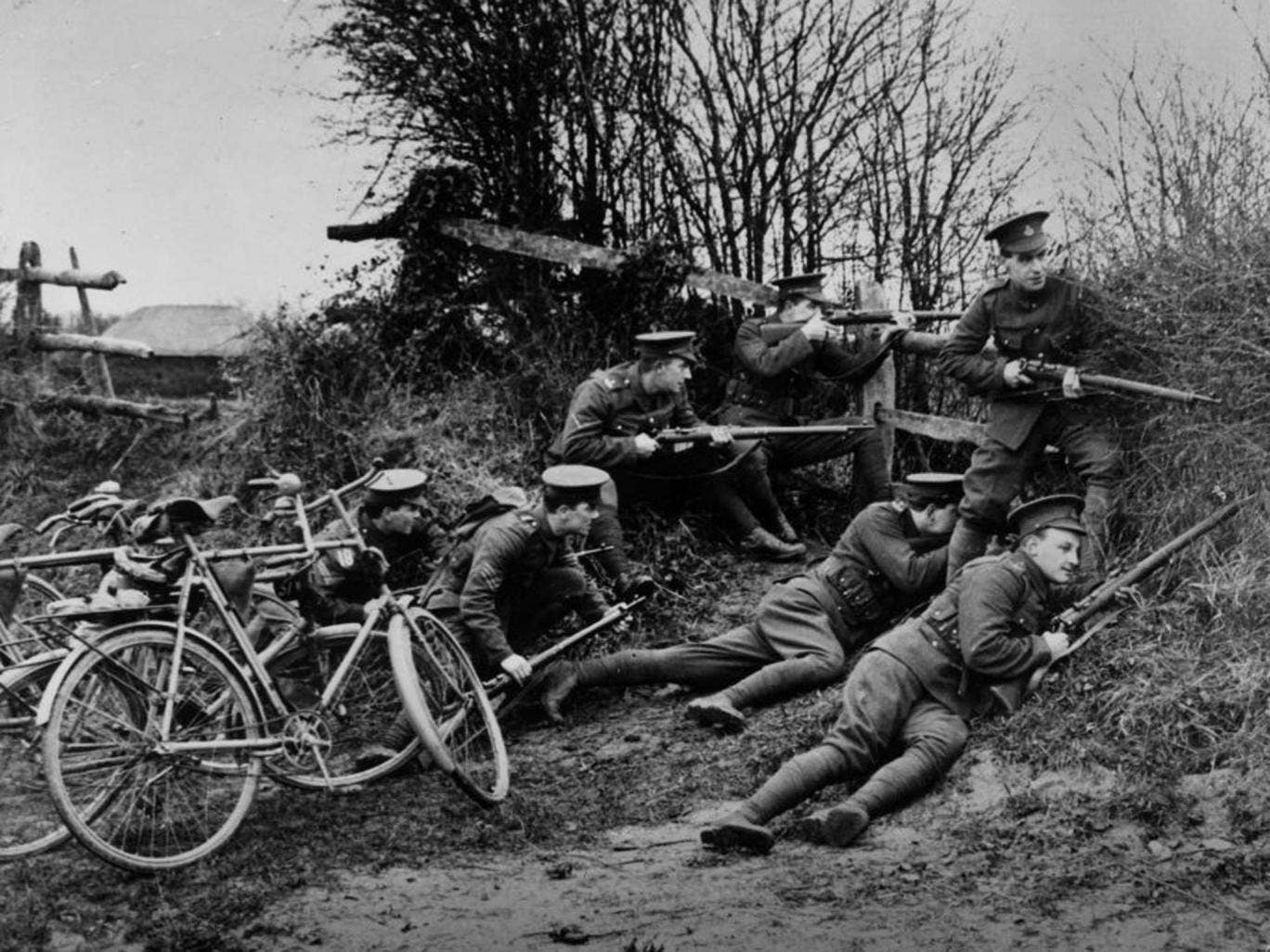 The innocents: New recruits, with bicycles, training with the British Army in 1914