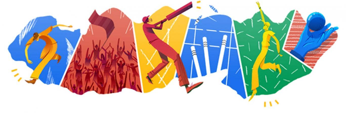 6 April 2014: Google's colourful Doodle celebrating the Twenty20 cricket World Cup final between India and Sri Lanka