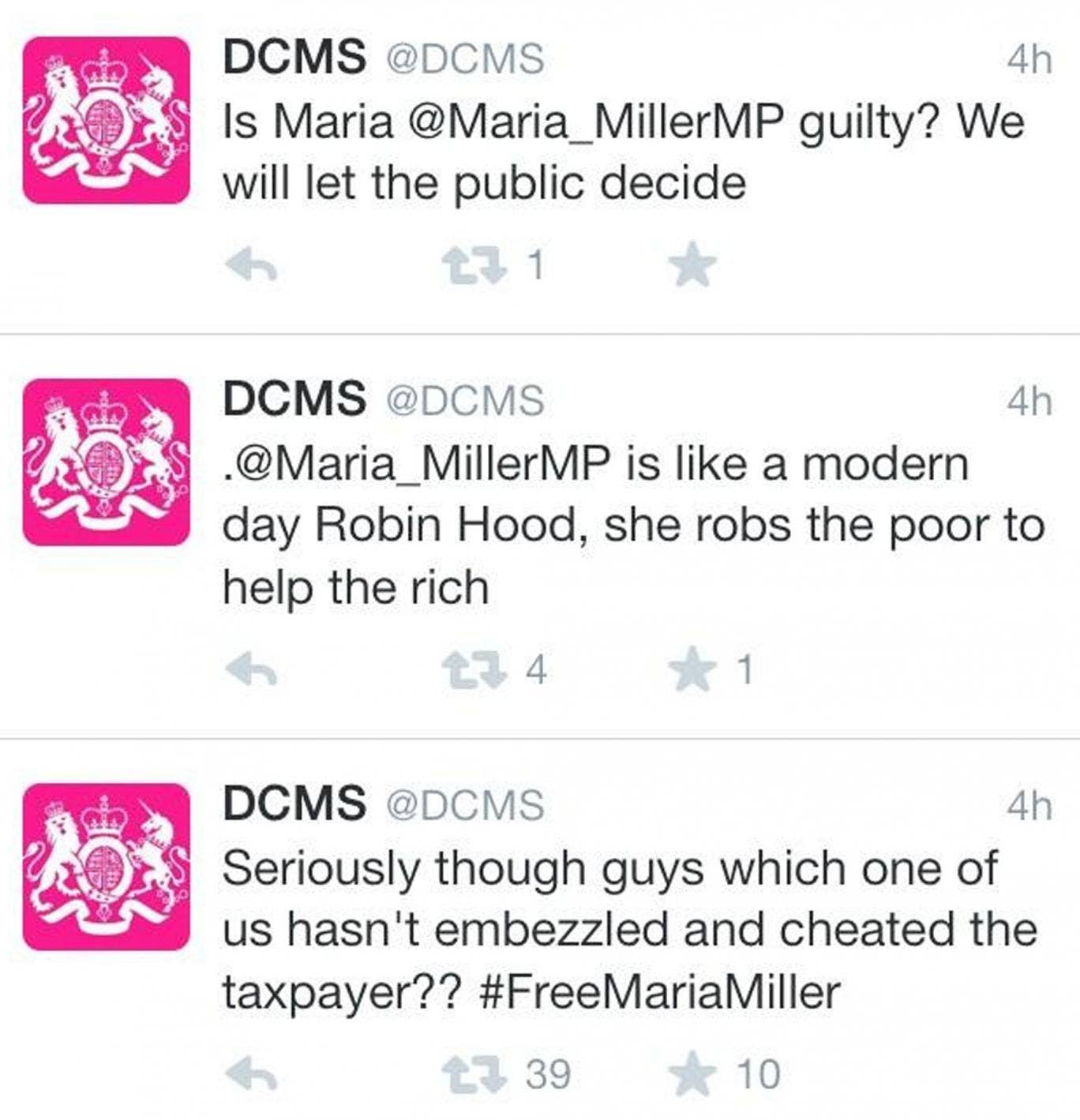 The series of tweets posted from the DCMS account on Saturday evening