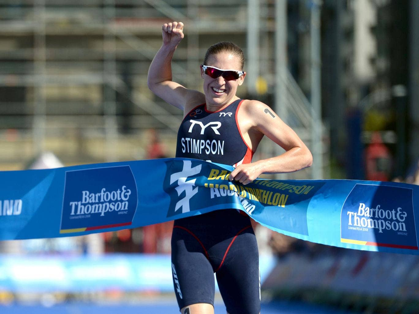Jodie Stimpson takes victory in the opening round of the World Triathlon Series in Auckland