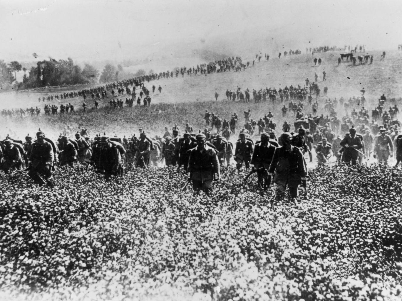 German infantry advance through Belgium in August 1914