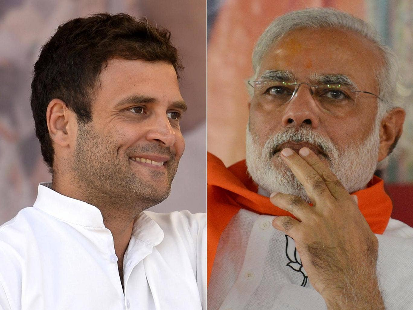 Ruling Congress party scion Rahul Gandhi (left) is being challenged by nationalist opposition leader Narendra Modi in the nine-day elections