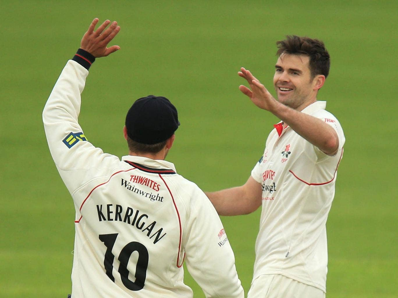 James Anderson celebrates his second of five wickets yesterday