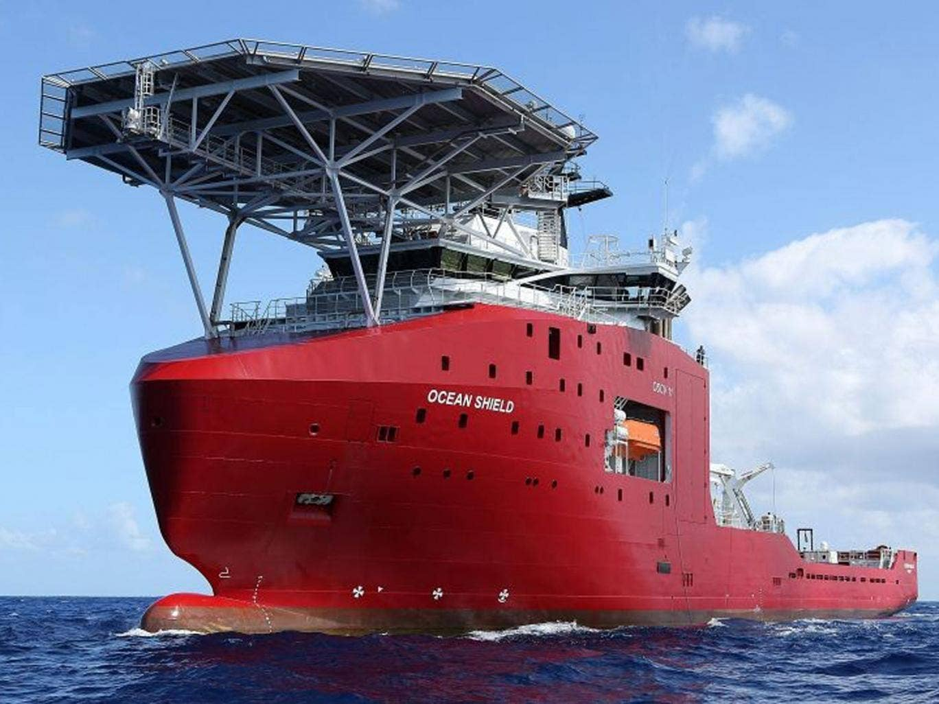 The towed pinger locator is deployed off the Australian Defence Vessel Ocean Shield, in the Indian Ocean