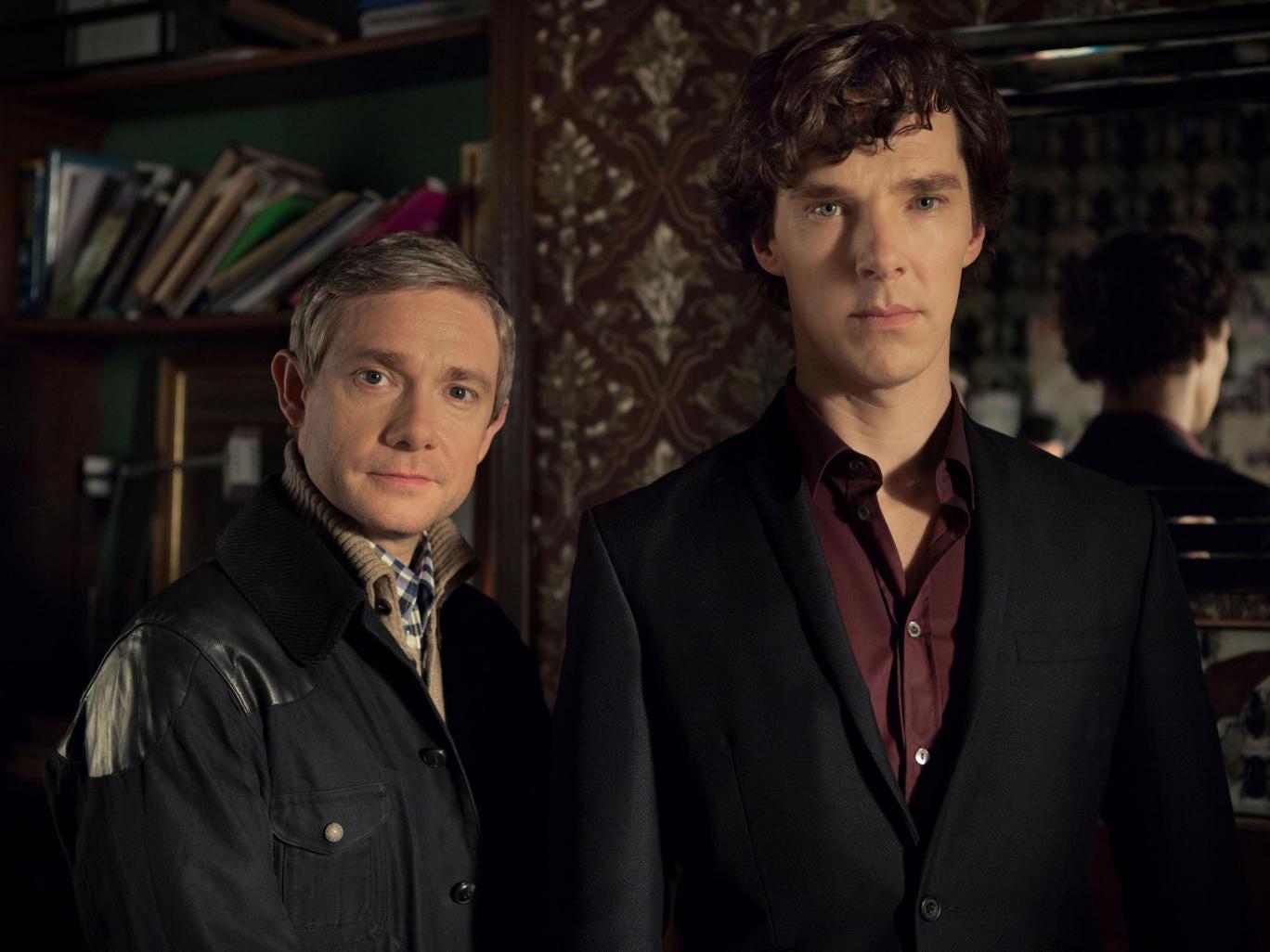 Martin Freeman and Benedict Cumberbatch as John Watson and Sherlock Holmes in Sherlock